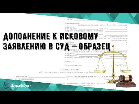 Дополнение к исковому заявлению в суд — образец