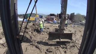CPCS 360 excavator above 10 tonnes mock trench with man hole.