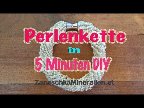 16-reihige Perlenkette in 5 Minuten selber machen - Schmuck selber machen - Kette knüpfen