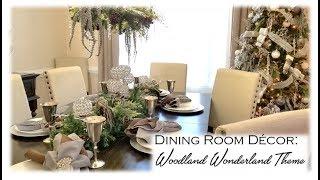 Christmas Tablescape & Chandelier Decor: Woodland Wonderland Theme