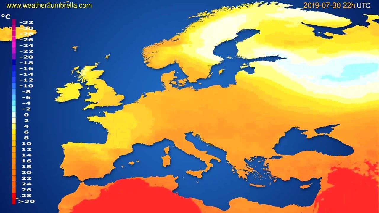 Temperature forecast Europe // modelrun: 12h UTC 2019-07-27