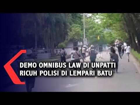 demo ombnibus law di kampus unpatti ricuh polisi dilempari batu