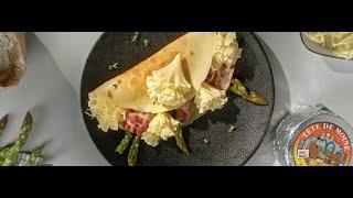 Crespelle con asparagi, bacon e Tête de Moine DOP Video
