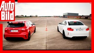 Video: Mercedes-AMG A 45 vs BMW M2 - 751 PS im 1/4 Meile-Duell / Dragrace / Test / Quartermile by Auto Bild
