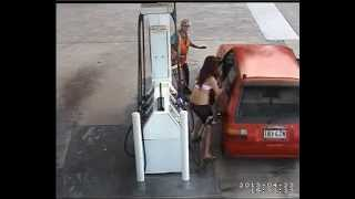 Couple stealing fuel bungle a getaway from station