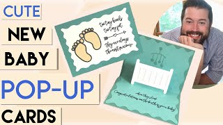 Make adorable NEW BABY cards   Pop up cards made EASY   newborn baby cards   POP UP CARD tutorial