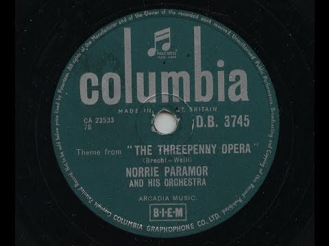 Norrie Paramor And His Orchestra 'Theme from 'The Threepenny Opera' 1956 78 rpm