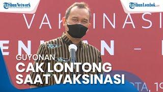Guyonan Cak Lontong saat Vaksinasi Seniman dan Budayawan yang Dihadiri Presiden Jokowi