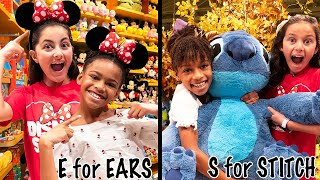 DISNEY Shopping in Alphabetical Order w/ Naiah and Elli!!! Big Sis vs Little Sis