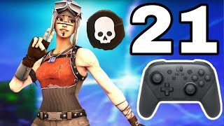 21 Kill Solo vs Squad on Nintendo Switch (Pro Controller w/ Handcam)