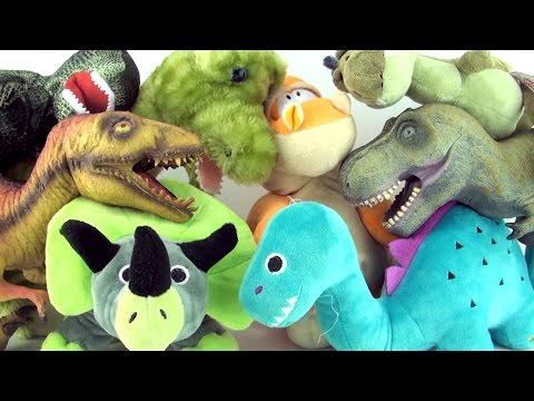 8 dinosaur soft toys - Plush dinosaurs toy collection - Tyrannosaurus Triceratops Stegosaurus