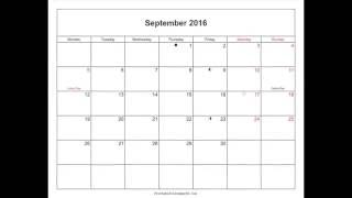 Free September 2016 Calendar Printable with Holidays and Notes in Word, PDF