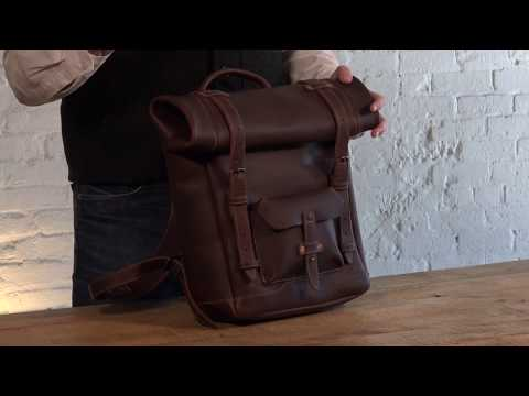 Heritage Rolltop Leather Laptop Backpack Video
