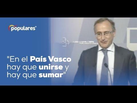 """Alfonso Alonso: """"En el País Vasco hay que unirse y hay que sumar"""""""