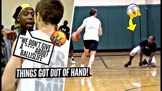 """""""We Don't Give A F*** About Ballislife!"""" Trash Talker LOSES IT After Ankle Breaker!! HEATED 5v5!"""