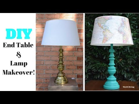 DIY End Table and Lamp Makeover: Furniture Makeover – Thrift Diving