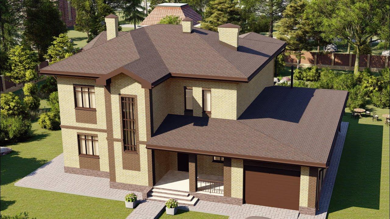 Проект дома 2 этажа из газобетона с облицовкой кирпичом, площадью 323 м2