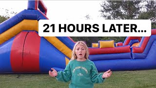 EVERLEIGH SPENDS 24 HOURS IN BACKYARD BOUNCE HOUSE!!!