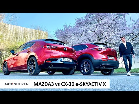 Mazda3 oder CX-30? Kompakte als e-Skyactiv X mit 186 PS im Vergleich | Test | Review | 2021