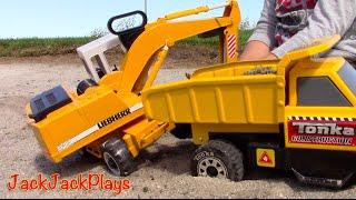 Construction Trucks for Kids: Bruder Toy UNBOXING Liebherr Excavator Digging JCB Backhoe Dump Truck