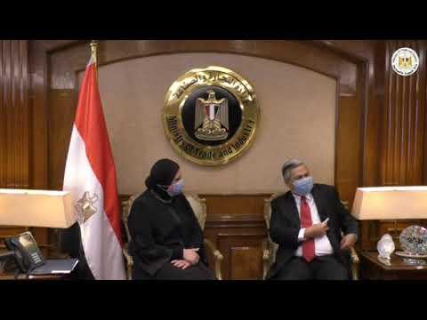 لقاء السيدة/نيفين جامع وزيرة التجارة والصناعة مع سفير اندونيسيا بالقاهرة