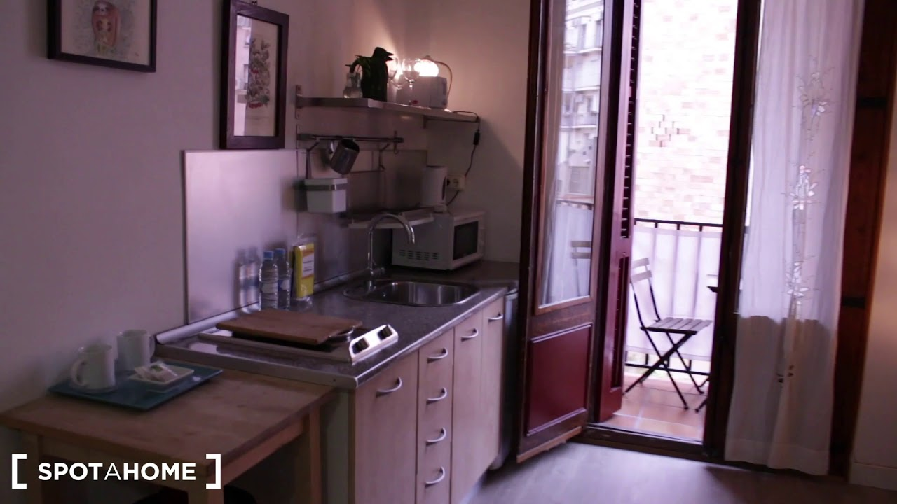Inviting studio apartment for rent  with balcony in Poble-sec