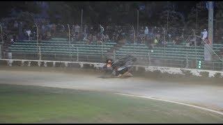 Sprint_Cars - PalmerstonNorth2017 Heat4 Stewart Flips Into Fence amateur