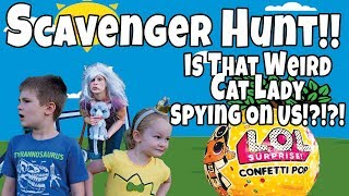 Lol Doll And Pokemon Scavenger Hunt Is That Weird Cat Lady Spying On Us!?!