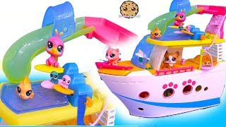 Cruise Ship ! Littlest Pet Shop Go On Boat Ride - Cookie Swirl C Video