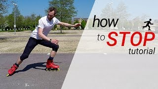How to stop on inline skates / rollerblades - 3 stops for beginners tutorial