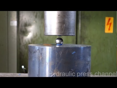 Trying to crush the mighty bearing ball with hydraulic press