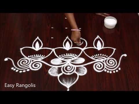 Beautiful deepam muggulu with 7-1 dots // Apartment rangolis //Easy Rangolis