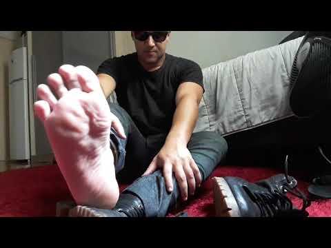 Stinky male feet after work! Foot slave worship my feet! Master feet podolatria