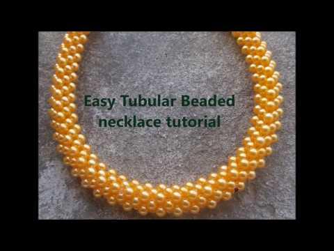 Easy tubular beaded necklace or bracelet tutorial
