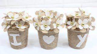 5 Easy Mini Jute Flower Vase Idea | Home Decorating Ideas Handmade