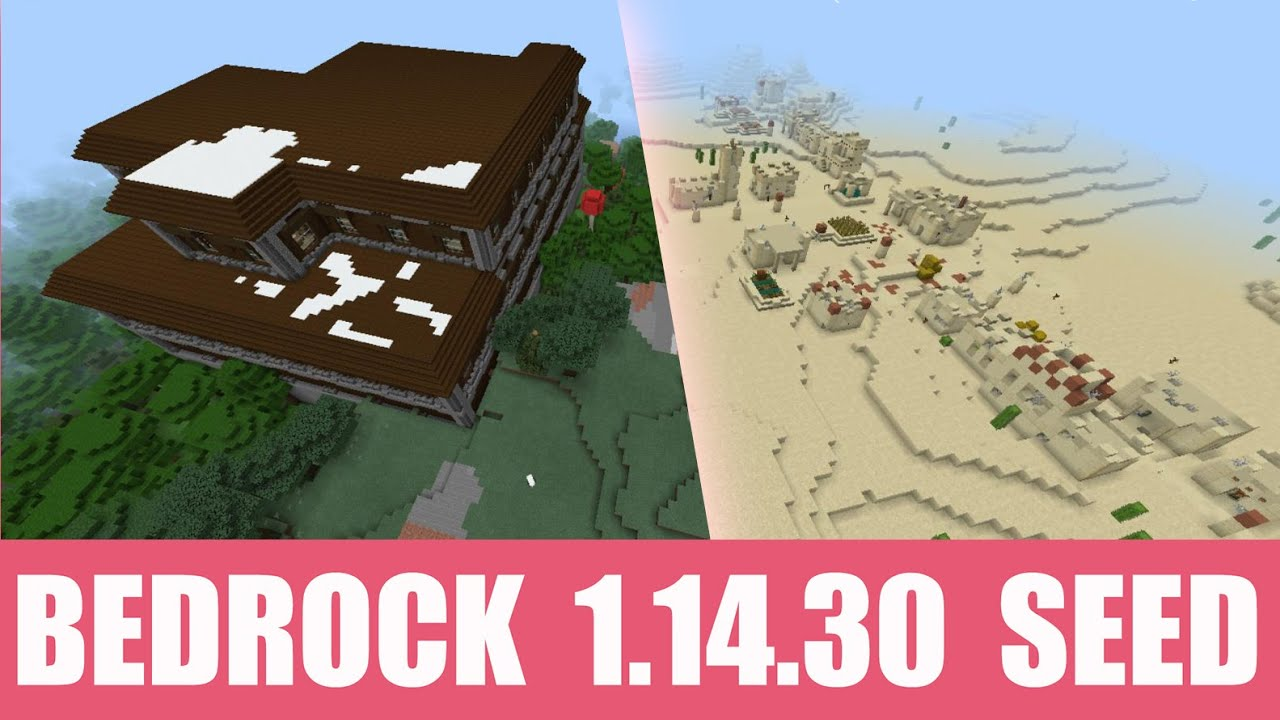 Seed: Snowy woodland mansion and abandoned desert village near spawn MINECRAFT SEED -951672100