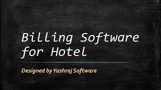 Cloud-Based Billing Software for Hotel | onlineyashraj