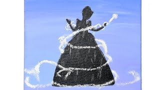 How To Paint A Cinderella Disney Silhouette - Easy For Beginners Painting