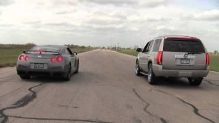 Nissan GT-R vs. Hennesey Cadillac Escalade   Kholo.pk
