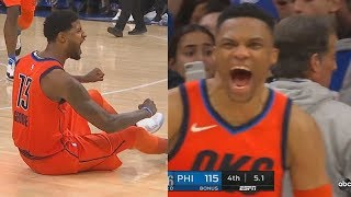 Paul George Shocks Russell Westbrook With Craziest Game Winner In Final Minutes! Thunder vs Sixers