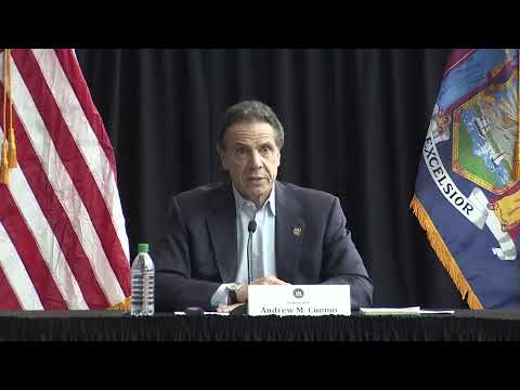 New York Governor Cuomo gives a coronavirus update from the Javits Center