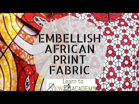 How to Add Stones to Ankara / Embellish African Print Styles. DIY - Add Rhinestones to Fabric