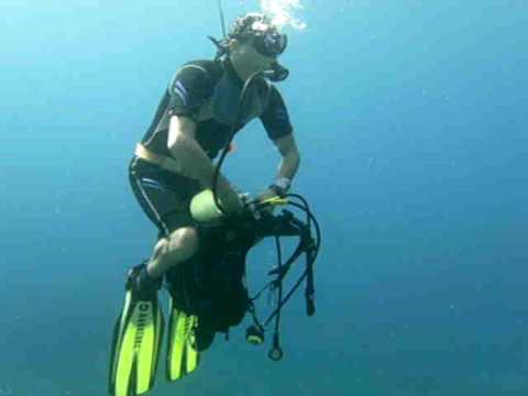 Moped fahren unterwasser, Cala d ´or Mallorca,Spanien