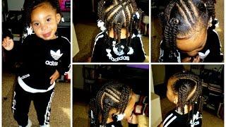 Toddler/Kid Style 4 X Braids 4 Ponytails W/Twists