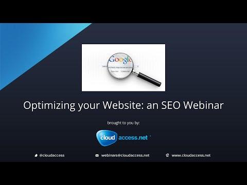 Optimizing your Website: an SEO Webinar