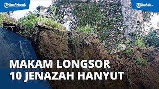 Makam di Colomadu Longsor, Jenazah di Dalam Kain Kafan Sampai Terlihat, Ada yang Hanyut ke Sungai