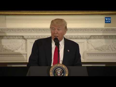 President Trump Stops by the National Governors Association Meeting