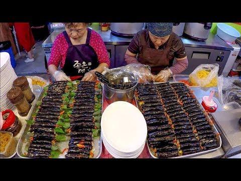 Great Skills. Handmade Gimbap Rolls, Noodles, Dumplings. Korea Street Food. Gwangjang, Seoul