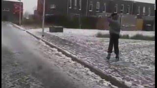 schaatsen op straat Baggelhuizen Assen 06 01 2016