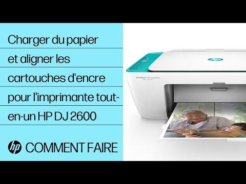 Charger du papier et aligner les cartouches d'encre pour l'imprimante tout-en-un HP DeskJet 2600